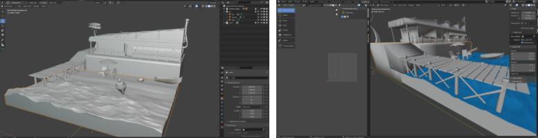 diseñando un escenario 3d con el programa gratuito Blender de modelado digital