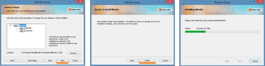 pasos de instalación de Blender en windows