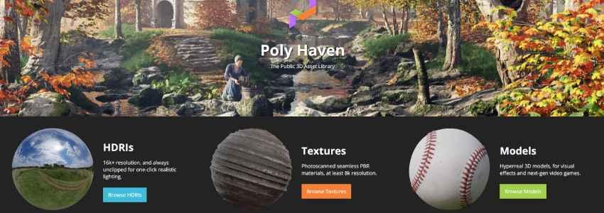 descargar texturas de blender en PolyHaven