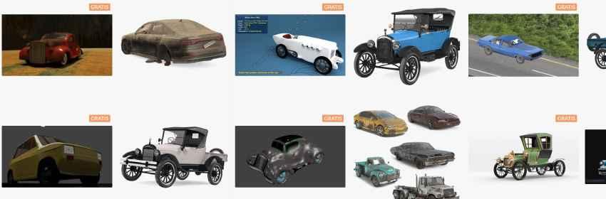 Modelados 3D de coches antiguos para blender