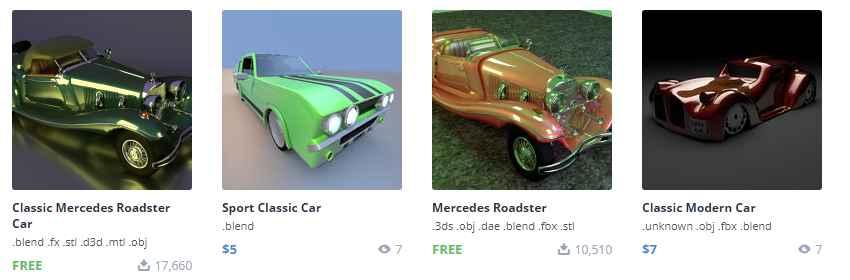 modelo 3d de coches antiguos para blender