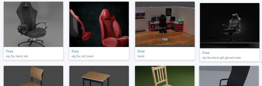Modelo 3d de silla gamer para blender