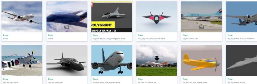 Modelos blender de aviones comerciales