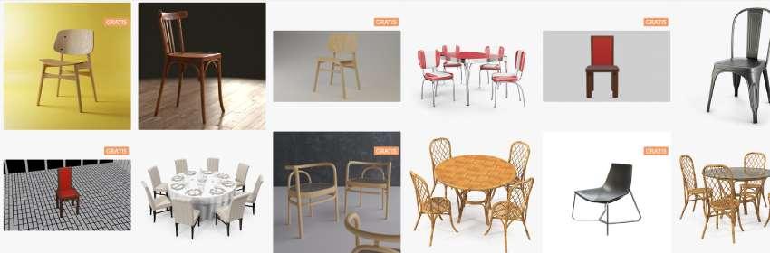 Modelos digital gratis de silla para Blender