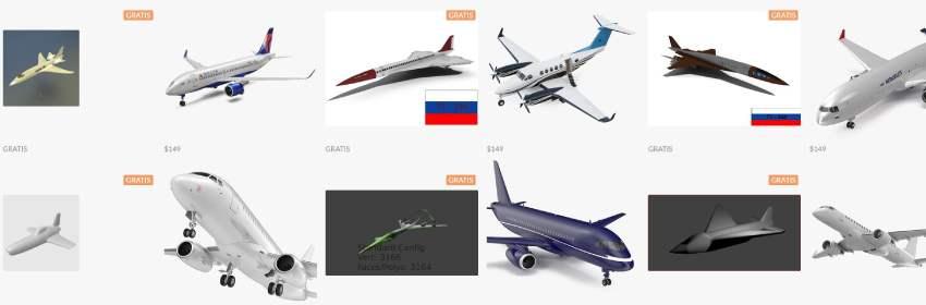 aviones de turismo en modelos 3d para blender