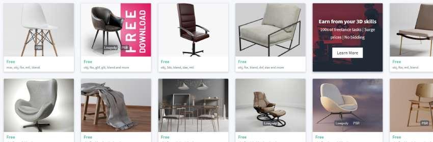 modelos 3d de sillas para casa en blender