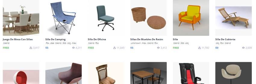 modelos de blender 3d de silla de comedor gratis