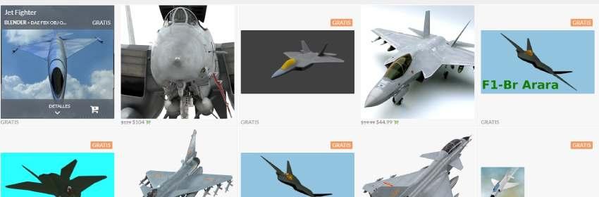 modelos gratis cazas de combate 3d para blender