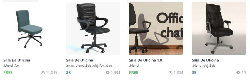 modelos gratis de sillas de oficina