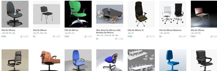 sillas de oficina con ruiedas en 3d para blender